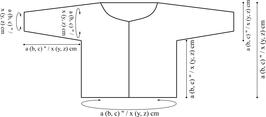 Schematic of a yoke sweater.